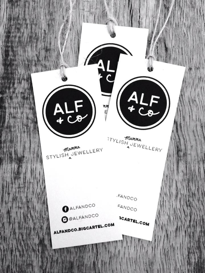 Alf and Co standard wordmark logo design and swing tag design