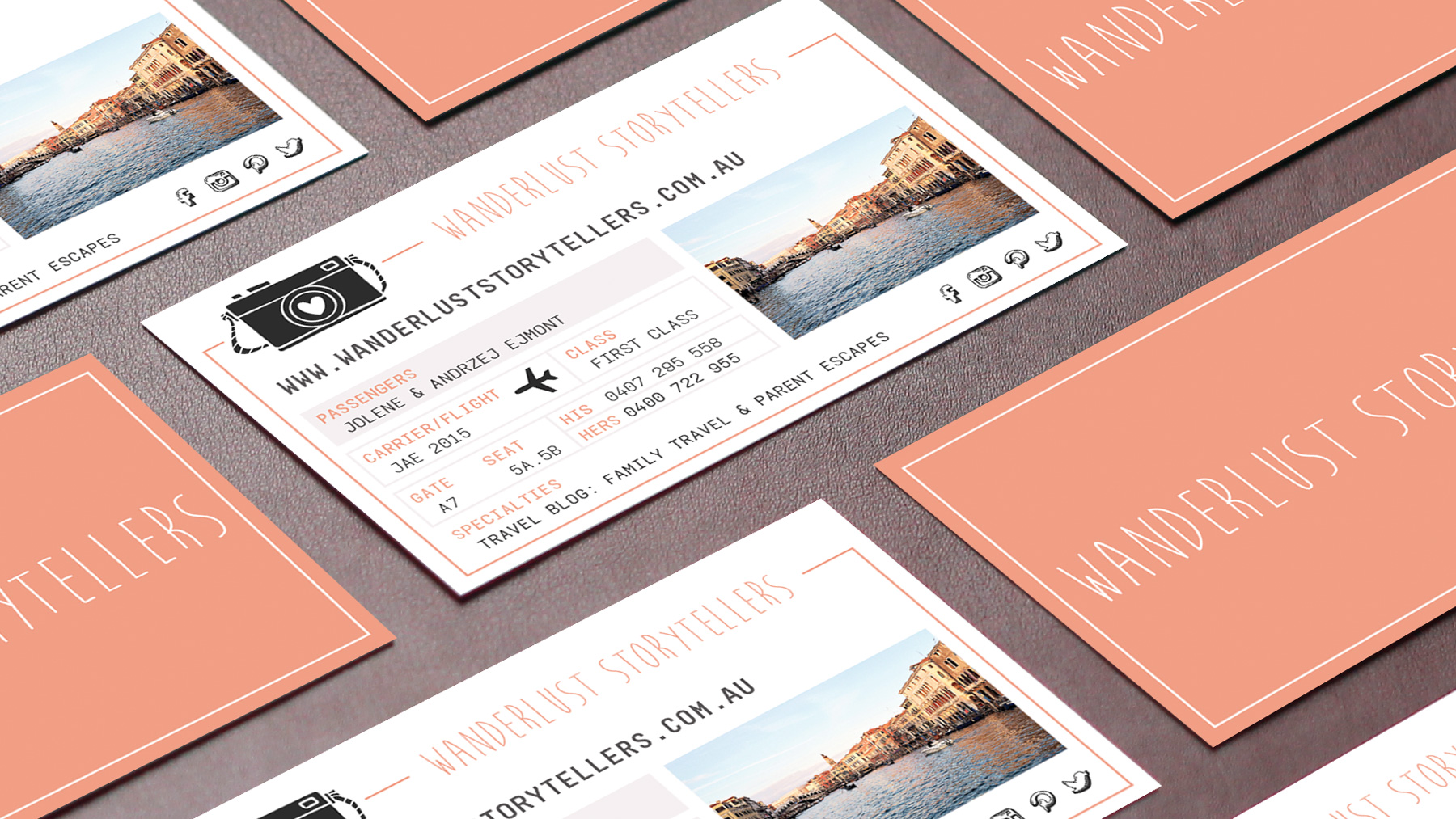 Business card design for Wanderlust Storytellers